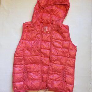 Lightweight Down Fill Vest w/Hood Neon Coral, M
